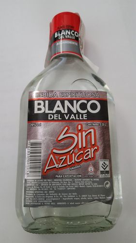 Aguardiente - Blanco del Valle sin azucar 350ml